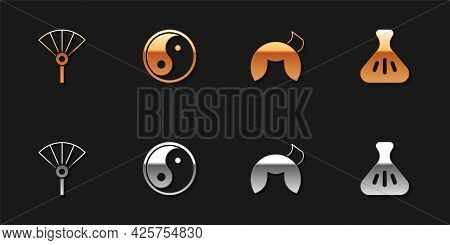 Set Chinese Or Japanese Folding Fan, Yin Yang, Fortune Cookie And Dumpling Icon. Vector