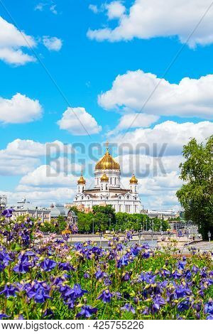 Moscow, Russia - May 25, 2021 .: Cathedral Of Christ The Savior, View From The Park Of Arts