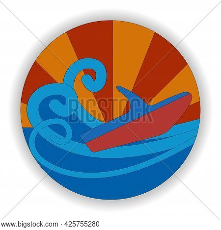 Stylized Illustration Of A Water Scooter. Jet Ski, Waves And Sunset. Round Emblem. Water Transport S