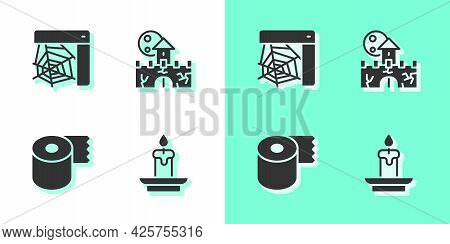 Set Burning Candle, Spider Web, Toilet Paper Roll And Castle, Fortress Icon. Vector