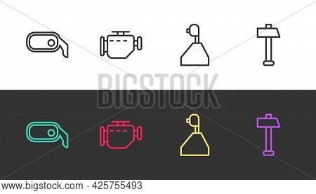 Set Line Car Rearview Mirror, Check Engine, Gear Shifter And Hammer On Black And White. Vector