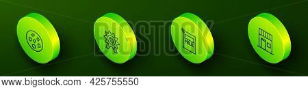 Set Isometric Line Cookie Or Biscuit, Medal For Coffee, Paper Package Milk And Coffee Shop Icon. Vec
