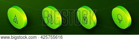 Set Isometric Line Dart Arrow, Kettlebell, Smart Watch Showing Heart Beat Rate And Racket For Playin