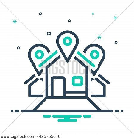 Mix Icon For Address Location Locale Place Resident Inhabitant House