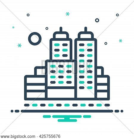 Mix Icon For City Town Suburb Faubourg Building Cityscape Architecture