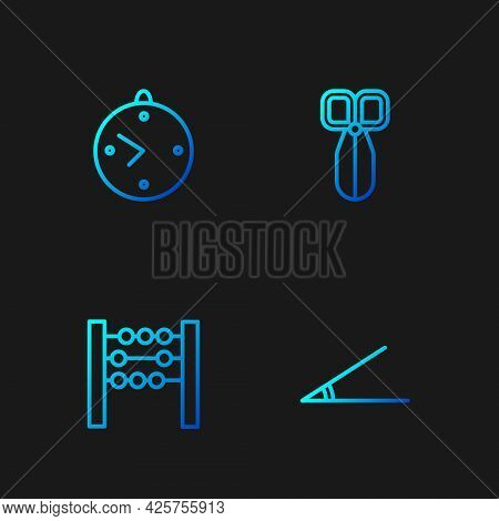 Set Line Acute Angle, Abacus, Clock And Scissors. Gradient Color Icons. Vector