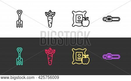 Set Line Garden Rake, Carrot, Apple In The Sack And Chainsaw On Black And White. Vector