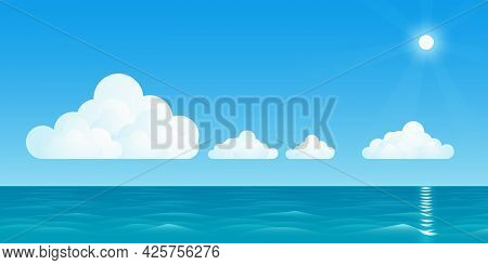 A Vector Illustration Of A Warm Seascape With White Clouds, And The Bright Sun With Rays.