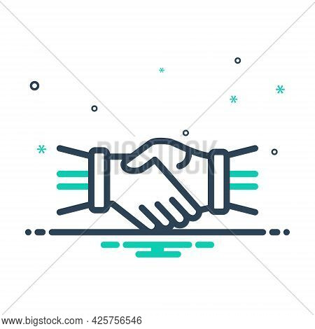 Mix Icon For Hand-shake Hand Shake Join-hands Corporate Team