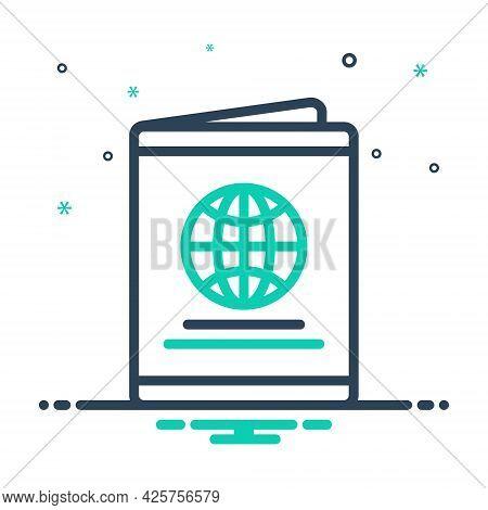 Mix Icon For Passport Immigration Document Identification Emigration