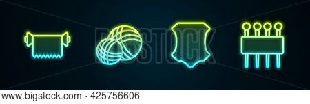 Set Line Textile Fabric Roll, Yarn Ball, Leather And Needle For Sewing. Glowing Neon Icon. Vector