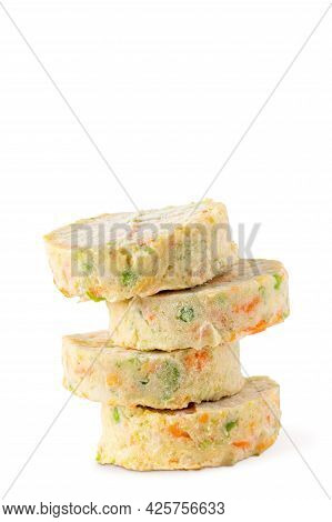 Stack Of Semi Finished Raw Vegan Patties For Veggie Burgers Or Healthy Dinner Isolated On White. Fro