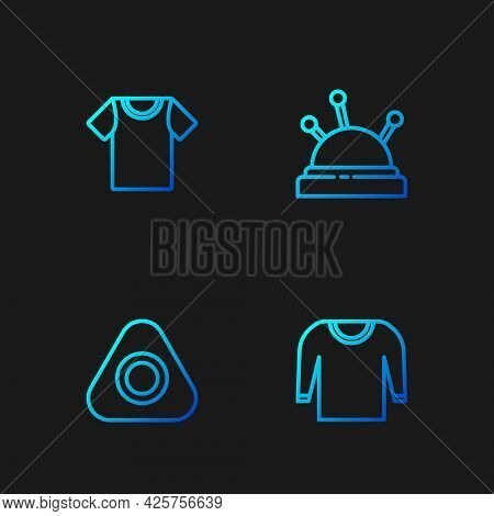 Set Line Sweater, Sewing Chalk, T-shirt And Needle Bed And Needles. Gradient Color Icons. Vector