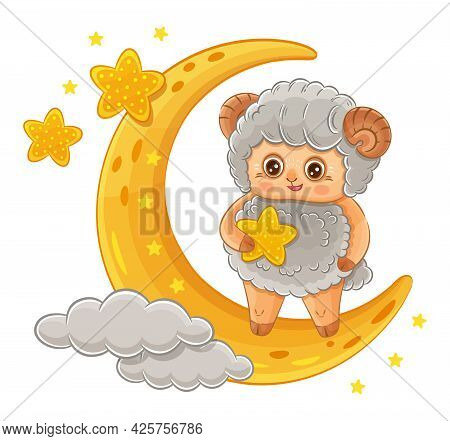 Cute Ram Or Sheep Cartoon Character. Aries Zodiac Sign. Funny Farm Lamb Animal With Star Stands On C
