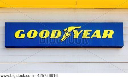 Samara, Russia - July 2, 2021: Goodyear Signboard Of American Multinational Tire Manufacturing Compa