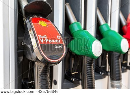 Samara, Russia - July 4, 2021: Filling Column With Different Fuels At The Shell Gas Station. Shell V