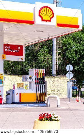 Samara, Russia - July 4, 2021: Shell Gas Station In Sunny Day. Shell V-power Fuel Station. Royal Dut