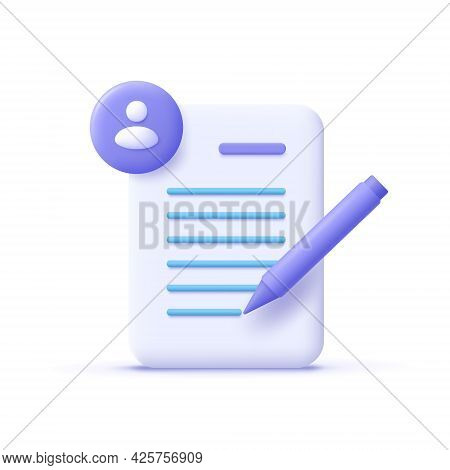 Copywriting, Writing Icon. Document And Pencil. Creative Writing And Storytelling, Education Concept