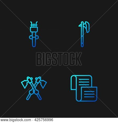 Set Line Decree, Parchment, Scroll, Crossed Medieval Axes, Torch Flame And Medieval. Gradient Color