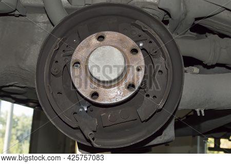 Car Parking Brake Mechanism With Brake Drum Removed