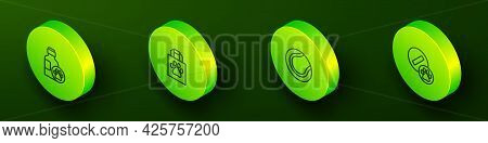 Set Isometric Line Pet Shampoo, Shopping Bag Pet, Tennis Ball And Dog Pill Icon. Vector