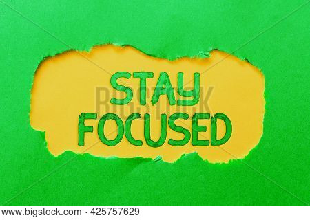 Hand Writing Sign Stay Focused. Business Idea Be Attentive Concentrate Prioritize The Task Avoid Dis