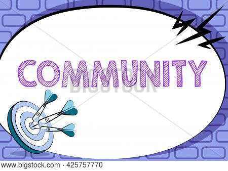 Writing Displaying Text Community. Business Idea Group Of Showing With A Common Characteristics Livi