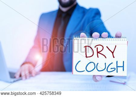 Text Caption Presenting Dry Cough. Word Written On Cough That Are Not Accompanied By Phlegm Producti