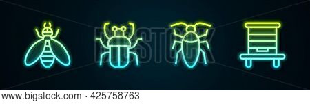 Set Line Bee, Stink Bug, Cockroach And Hive For Bees. Glowing Neon Icon. Vector