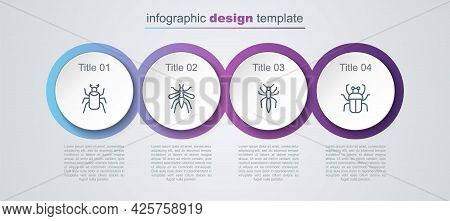 Set Line Beetle Bug, Mosquito, Spider And Stink. Business Infographic Template. Vector