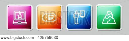Set Line Online Museum, Museum Ticket, Guide And Rock Stones. Colorful Square Button. Vector