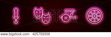 Set Line Medieval Sword, Comedy And Tragedy Masks, Ancient Chariot And Old Wooden Wheel. Glowing Neo