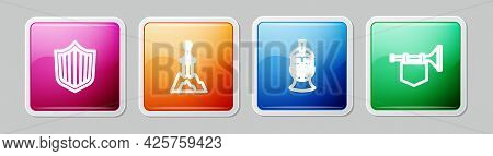 Set Line Shield, Sword In The Stone, Medieval Iron Helmet And Trumpet With Flag. Colorful Square But