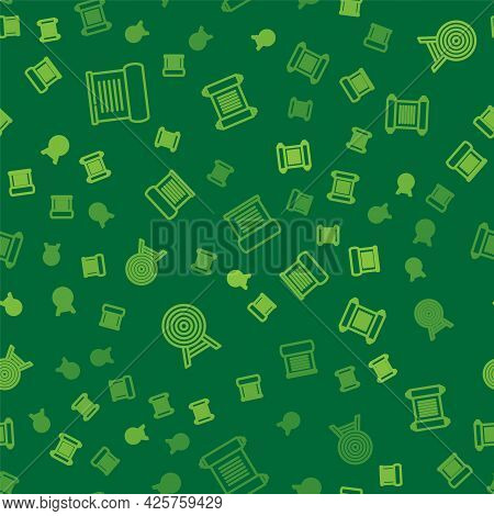 Set Line Decree, Parchment, Scroll, Target With Arrow And On Seamless Pattern. Vector