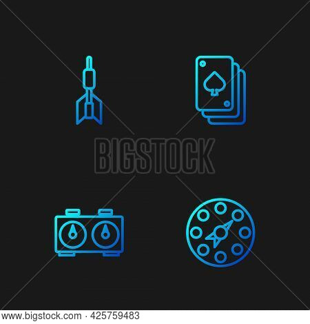 Set Line Twister Game, Time Chess Clock, Dart Arrow And Playing Cards. Gradient Color Icons. Vector