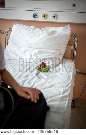 Little Cute Boy In Hospital At Bed Indoors