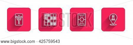 Set Line Mahjong Pieces, Board Game Of Checkers, Hockey Table And Chess With Long Shadow. Red Square