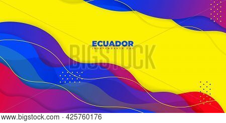Ecuador Independence Day With Red And Blue Abstract Background Design. Good Template For Ecuador Nat