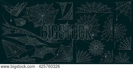 Halloween Cobweb. Spider Web Spooky Halloween Decoration, Scary Torn Cobweb Symbols Vector Illustrat