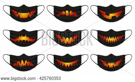 Halloween Pumpkin Mask. Face Protection Masks With Halloween Spooky Pumpkin Faces Isolated Vector Il