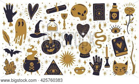 Witch Halloween Symbols. Doodle Witchcraft Spooky Elements, Magic Cauldron, Skull And Pumpkin Vector
