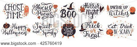 Halloween Lettering Quotes. Handwritten Halloween Phrases, Put A Spell On You And Trick Or Treat Vec