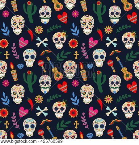 Dia De Los Muertos Pattern. Day Of The Dead Mexican Floral Sugar Human Head Bones Vector Background