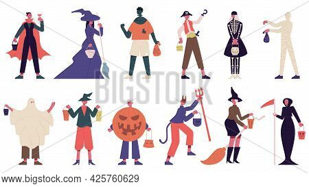 Halloween Characters. People In Halloween Costumes, Witch, Ghost And Mummy Costumes For Carnival Par
