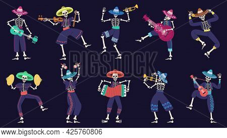 Day Of The Dead Mariachi Band. Musical Mexican Festival Skeletons Characters Vector Illustration Set