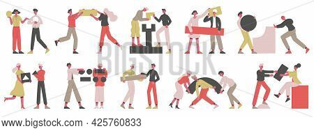 Teamwork Business Concept. People With Abstract Geometric Shapes, Business Coworkers Collecting Figu