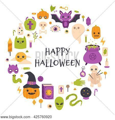 Happy Halloween Card. Autumn Halloween Pumpkin, Bat And Witch Cauldron Party Invitation Vector Illus