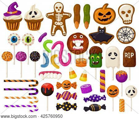 Halloween Sweets. Cartoon Halloween Candies, Spooky Lollipops, Cupcakes And Scary Jelly Sweets Vecto