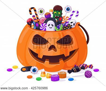 Halloween Pumpkin With Candies. Cartoon Sweets Pumpkin Basket, Lollipops, Jelly Treats And Candy Can