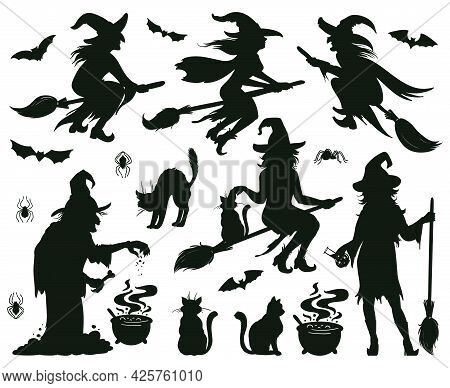 Halloween Witch Silhouettes. Magic Witch Ladies With Broomstick, Hats And Bats, Scary Witches Making